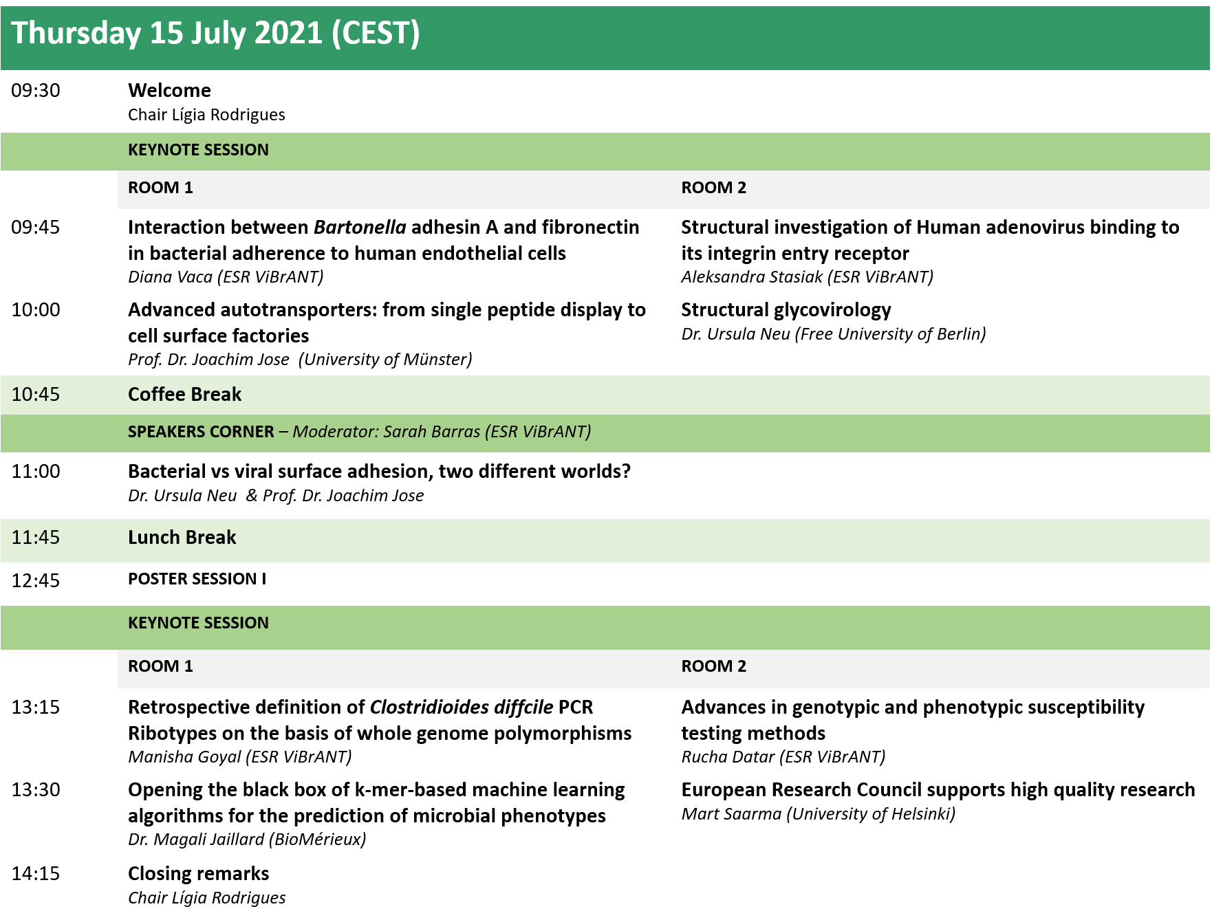 Official ViBrANT2021 Conference Programme 15 July
