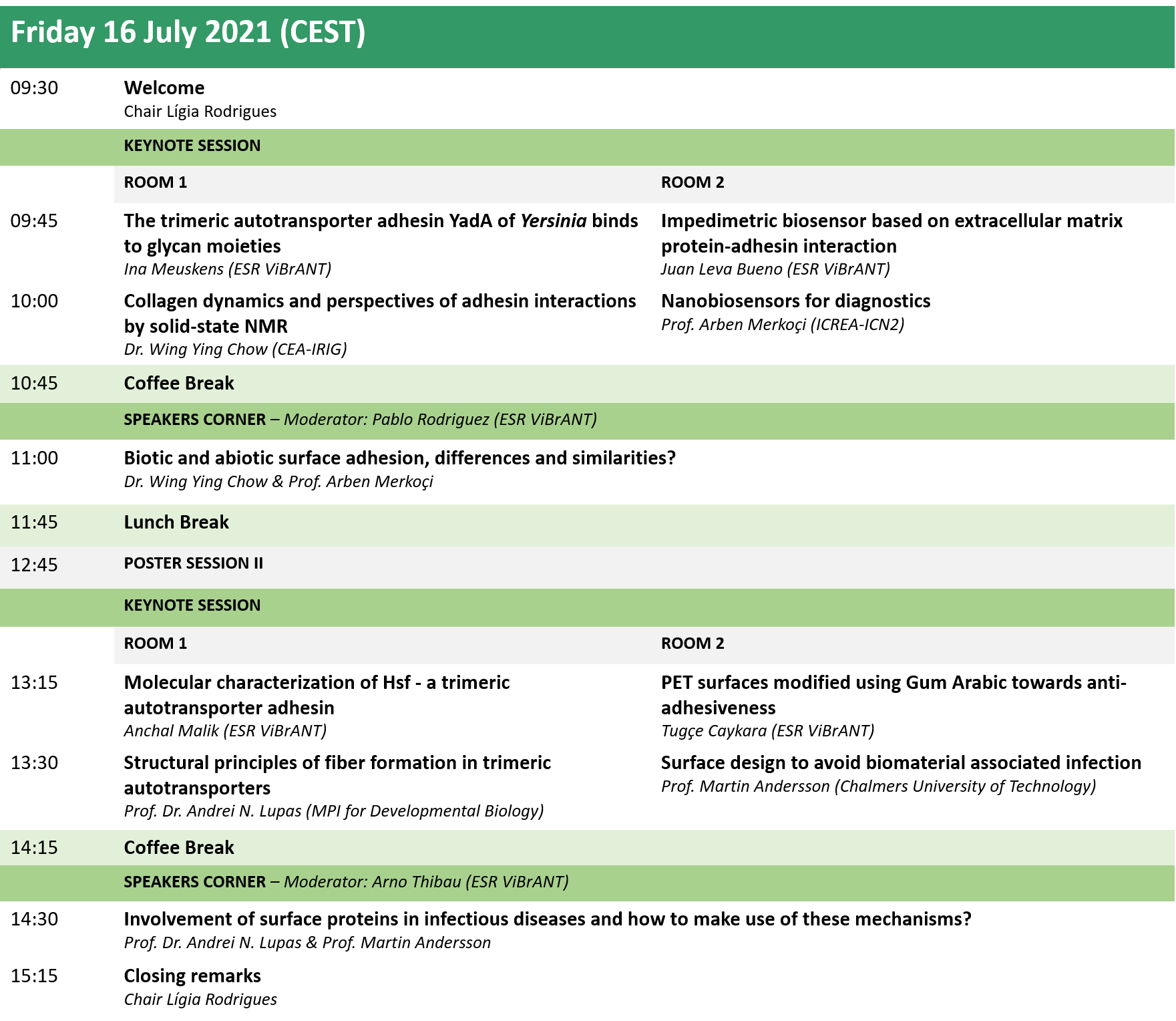 Official ViBrANT2021 Conference Programme 16 July