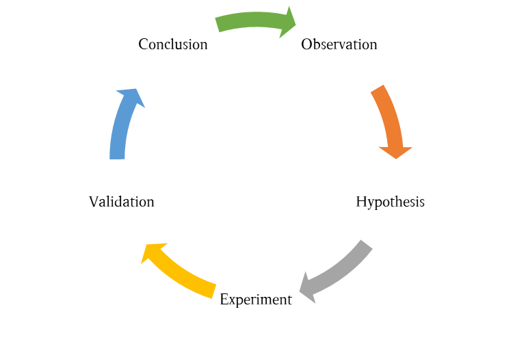 The scientific method - Starting from an observation one forms a hypothesis that is the tested in a series of experiments which either confirm or contradict the hypothesis finally leading to a conclusion that allows a new set of observations to be made.